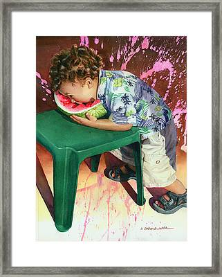 The Watermelon Eater Framed Print by Marguerite Chadwick-Juner
