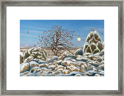 The Waxwing Tree Framed Print by Dawn Senior-Trask