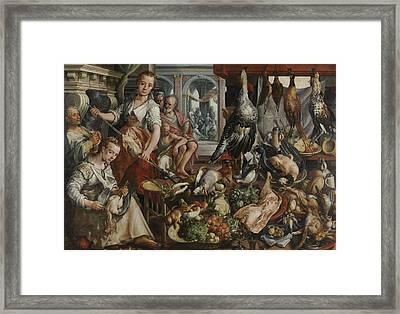 The Well-stocked Kitchen, 1566 Framed Print by Joachim Bueckelaer
