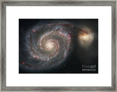 The Whirlpool Galaxy M51 And Companion Framed Print by Stocktrek Images