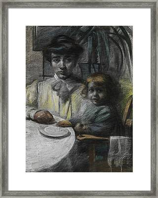 The Wife And Daughter Of Giacomo Balla Framed Print by Umberto Boccioni