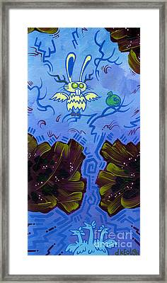 The Winged Jackalope Gots Da Loot. Doz Chickens Want Some But They Aint Getin None Of It Framed Print by Dan Keough