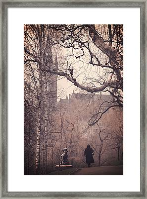 The Woman In Black Framed Print by Carol Japp
