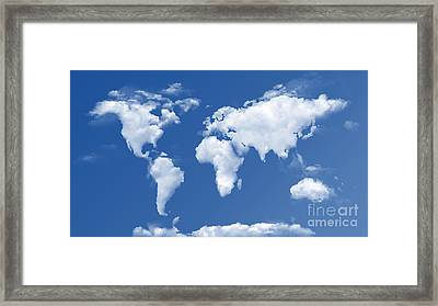 The World In The Clouds Framed Print by Bedros Awak