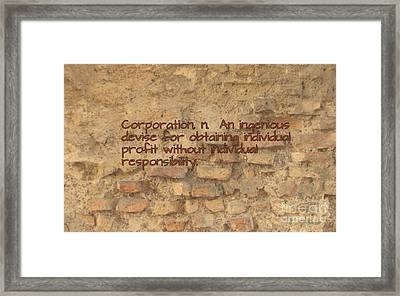 The Writing On The Wall Four Framed Print by John Malone