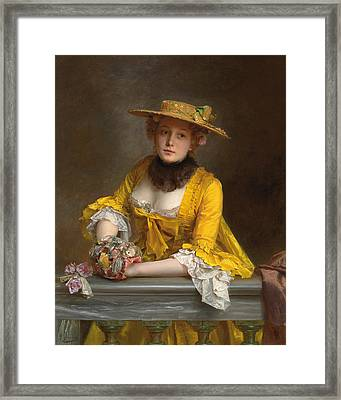 The Yellow Dress Framed Print by Gustave Jacquet