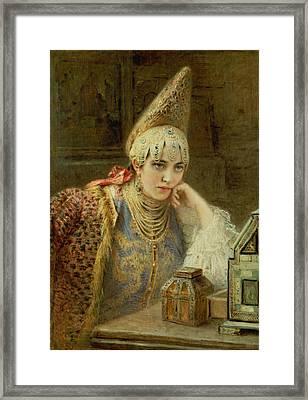 The Young Bride Framed Print by Konstantin Egorovich Makovsky