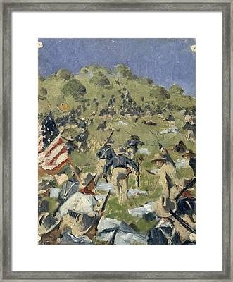 Theodore Roosevelt Taking The Saint Juan Heights Framed Print by Vasili Vasilievich Vereshchagin