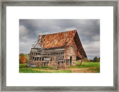 There Was A Crooked Barn Framed Print by Kim Hojnacki