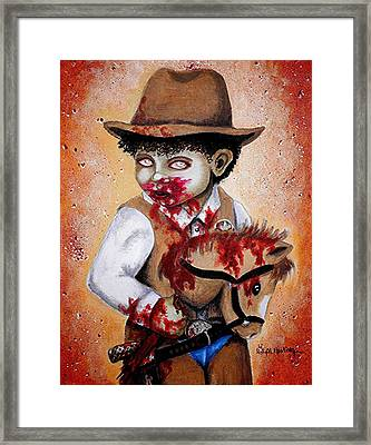 There's A New Sheriff In Town And He Wants To Eat Your Brains Framed Print by Al  Molina