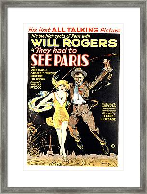 They Had To See Paris, Will Rogers Framed Print by Everett