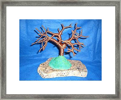 Thick 24 Gauge Copper Wire Tree On Brown And Black Marble Or Granite Slab Framed Print by Serendipity Pastiche