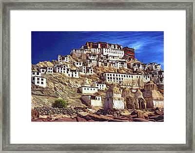 Thiksey Monastery - Paint Framed Print by Steve Harrington