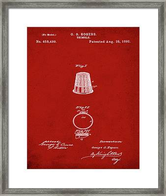 Thimble Patent 1891 In Red Framed Print by Bill Cannon