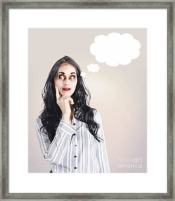 Thinking Dead Business Woman With A Bad Idea Framed Print by Jorgo Photography - Wall Art Gallery