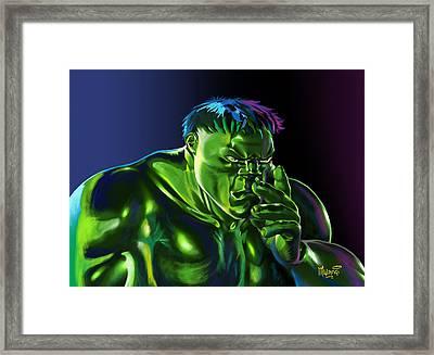 Thinking Hulk Framed Print by Anthony Mwangi
