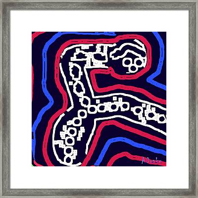 Thinking Red White And Blue Framed Print by Alec Drake