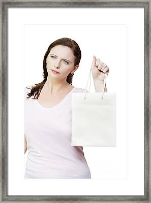 Thinking Woman With Copyspace Retail Shopping Bag Framed Print by Jorgo Photography - Wall Art Gallery