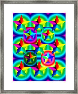 Thirteen Stars With Ring Gradients Framed Print by Eric Edelman