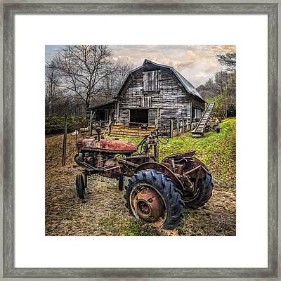 This Old Tractor Framed Print by Debra and Dave Vanderlaan