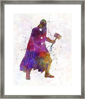 Thor 01 In Watercolor Framed Print by Pablo Romero