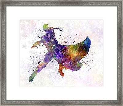 Thor 02 In Watercolor Framed Print by Pablo Romero