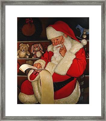 Thoughtful Santa Framed Print by Doug Strickland