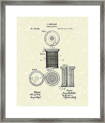 Thread Spool 1877 Patent Art Framed Print by Prior Art Design