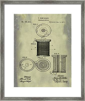 Thread Spool Patent 1877 Weathered Framed Print by Bill Cannon
