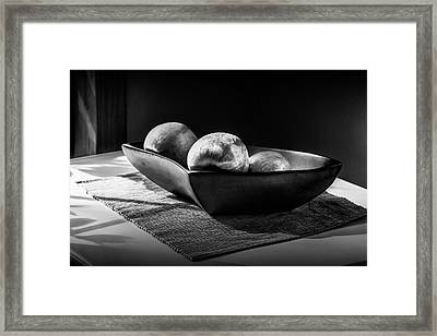 Three Apples In Black And White In A Bowl Framed Print by Randall Nyhof