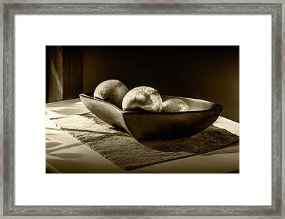 Three Apples In Sepia Tone In A Bowl Framed Print by Randall Nyhof