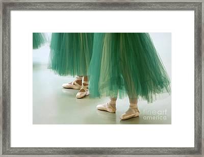 Three Ballerinas In Green Tutus Framed Print by Julia Hiebaum