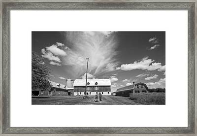 Three Barns With Clouds On Clark Lakes Road Framed Print by Stephen Mack