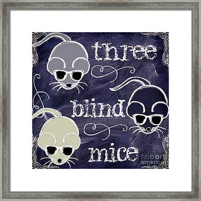 Three Blind Mice Children Chalk Art Framed Print by Mindy Sommers