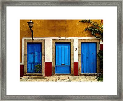 Three Blue Doors 1 Framed Print by Mexicolors Art Photography
