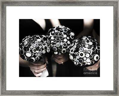 Three Bridesmaids Holding Vintage Button Bouquets Framed Print by Jorgo Photography - Wall Art Gallery
