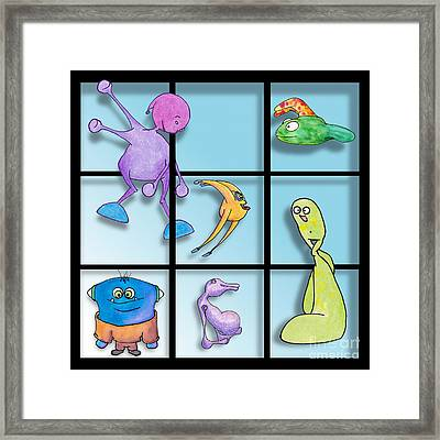 Three By Whee Framed Print by Uncle J's Monsters