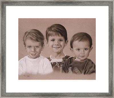 Three Cousins Framed Print by Nanybel Salazar