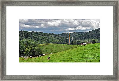Three Crosses On The Farm Framed Print by Lydia Holly