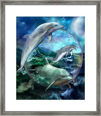 Three Dolphins Framed Print by Carol Cavalaris