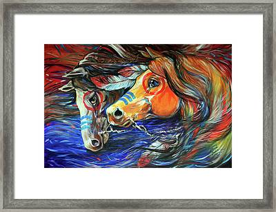 Three Feathers Indian War Ponies Framed Print by Marcia Baldwin