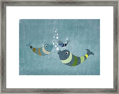 Three Fish In Water Framed Print by Jutta Kuss