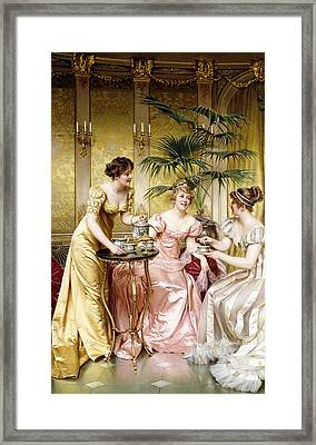 Three For Tea Framed Print by Joseph Frederic Charles Soulacroix