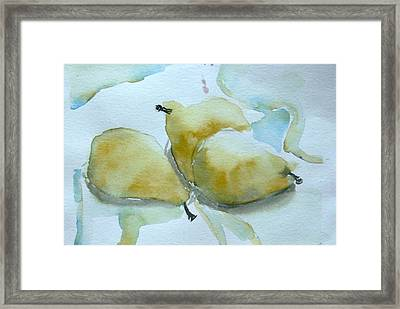 Three Gold Pears Framed Print by Mindy Newman