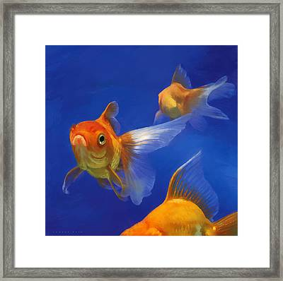 Three Goldfish Framed Print by Simon Sturge
