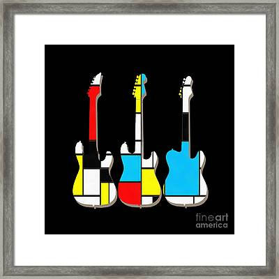 Three Guitars Modern Tee Framed Print by Edward Fielding