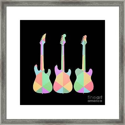 Three Guitars Triangles Tee Framed Print by Edward Fielding