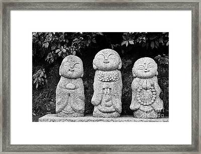 Three Happy Buddhas Framed Print by Dean Harte