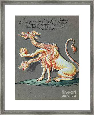 Three Headed Monster, 18th Century Framed Print by Wellcome Images