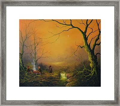 Three Hobbits A Fox And Supper Framed Print by Joe  Gilronan